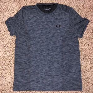 Grey/Blue Under Armour shirt.